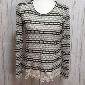 Black & Gray Striped Knit Sweater